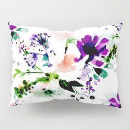 Abstract watercolor flowers purple Pillow Sham