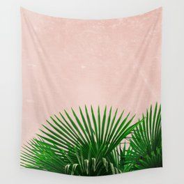 Palm Leaves On Pink Background Wall Tapestry