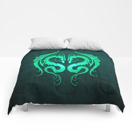 Teal Blue Twin Tribal Dragons Comforters