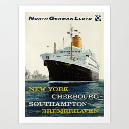 retro north german lloyd   new york - cherbourg - southampton - bremerhaven  Art Print