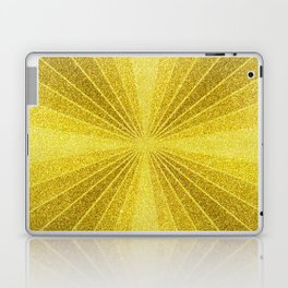 Geometric gold glitter mosaic, diagonal sun rays, gold abstract sparkles Laptop & iPad Skin