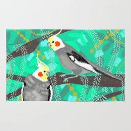 Cockatiels in Green Rug