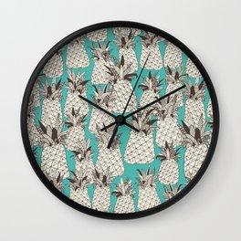 pineapple turquoise sea Wall Clock