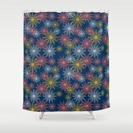 Swirl Firework Pattern Deep Blue Shower Curtain