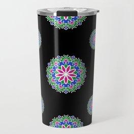 Blue, pink, green mandalas pattern Travel Mug