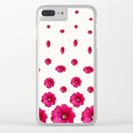 WHITE DOUBLE CERISE HOLLYHOCK FLOWERS GARDEN Clear iPhone Case