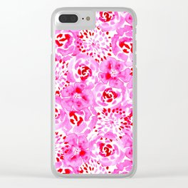 Watercolor Bouquet in Rose Red Pink Clear iPhone Case