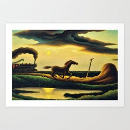 Classical Masterpiece 'The Race' - Horse and Train by Thomas Hart Benton Art Print