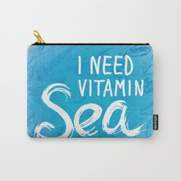 i need vitamin sea White text on blue background, Summer sea shells, molluscs Carry-All Pouch