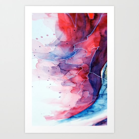 Watercolor magenta & cyan, abstract texture Art Print