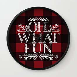 Oh What Fun Red Wall Clock
