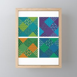 Pattern Patchwork Quilt Quilting Crafting Hobby Gift Framed Mini Art Print