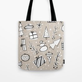 Christmas White and Kraft Sketches Tote Bag