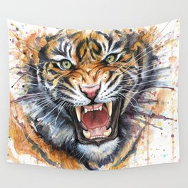 Tiger Roaring Wild Jungle Animal Wall Tapestry