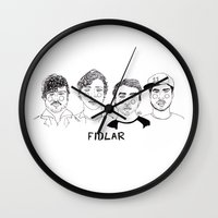 cactei Wall Clocks featuring Fidlar by ☿ cactei ☿