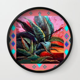 WESTERN PINK CORAL COLOR DESERT  BLUE AGAVE Wall Clock