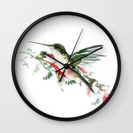 Hummingbird, Flying Hummingbird minimalist art, design watercolor design Wall Clock