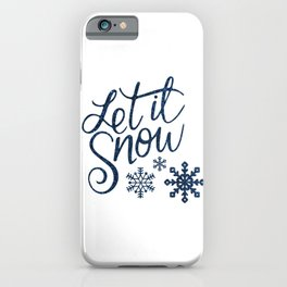 Let It Snow Blue Glitter Typography Winter iPhone Case