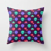 kawaii Throw Pillows featuring Kawaii Aliens by badOdds