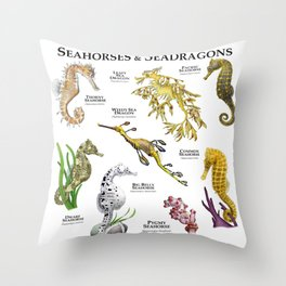 Seahorses and Seadragons Throw Pillow