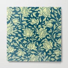 Modern Yellow Mauve Blue Roses Flowers Metal Print