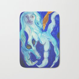 Blue Mermaid Surreal Watercolor Painting Fine Art by Garden Of Delights Bath Mat
