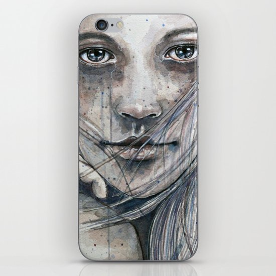 Summer dreams of winter, watercolor illustration iPhone & iPod Skin