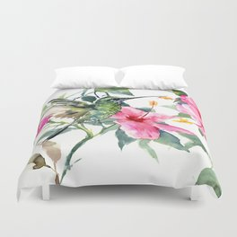 Hibiscus and Hummingbird, Hawaiian Aloha, birds and flowers design Duvet Cover