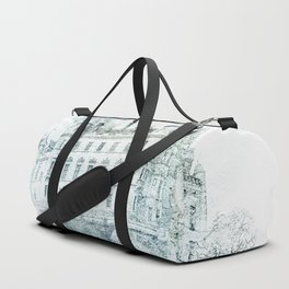 Watercolor Castle Blue Duffle Bag