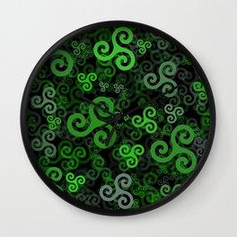Triskele triskelion in green Wall Clock