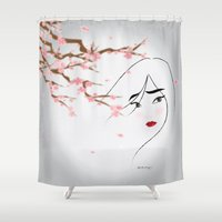 blossom Shower Curtains featuring Blossom by AmadeuxArt