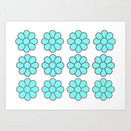 Turquoise Symmetrical Flower Pattern Art Print
