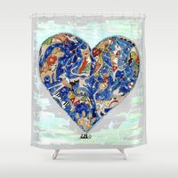 furry Shower Curtains featuring FURRY LOVE by Adka