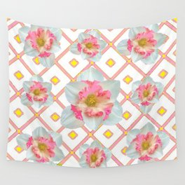 Pink-Yellow Spring Garden Daffodils Wall Tapestry