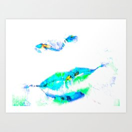 Lips cyanblue Art Print
