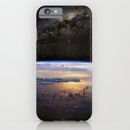 Space Station view of Planet Earth & Milky Way Galaxy iPhone Case