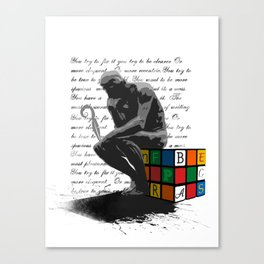 WRITER'S BLOCK the thinker Rubrix cube illustration Canvas Print