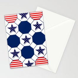 Nautical Patriotic Hexagons Stationery Cards