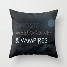 Ghosts, Werewolves & Vampires Throw Pillow