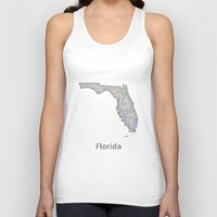 florida Tank Tops featuring Florida map by David Zydd