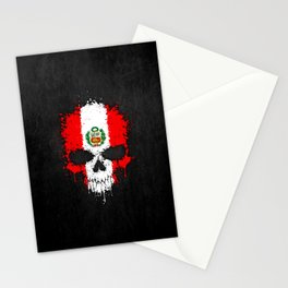 Flag of Peru on a Chaotic Splatter Skull Stationery Cards
