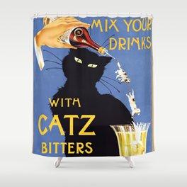 Black Cat vintage Booze ad Shower Curtain