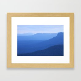 Layers of mountains at dusk, Blue Mountains, NSW, Australia Framed Art Print