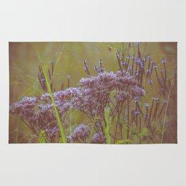 Summer Botanical Meadow Marsh with Joe Pye Weed and Blue Vervain Wildflowers Rug