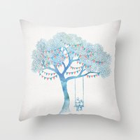 david Throw Pillows featuring The Start of Something by David Fleck