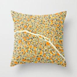 Paris Map Throw Pillow