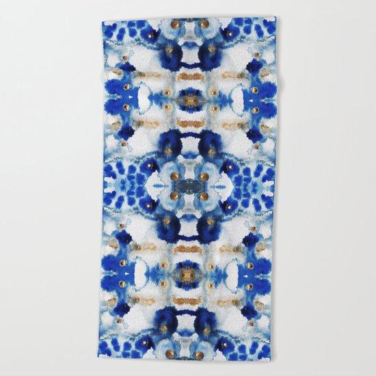 Symmetric Blue Beach Towel