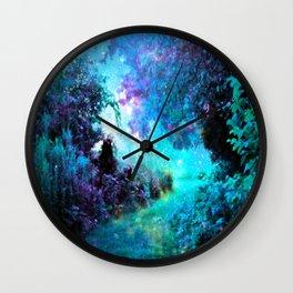Fantasy Garden Path Turquoise Purple Wall Clock