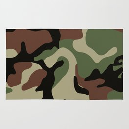 Army Camouflage Pattern Green Forest Rug