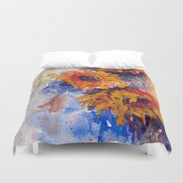 Watercolor Sunflowers Duvet Cover